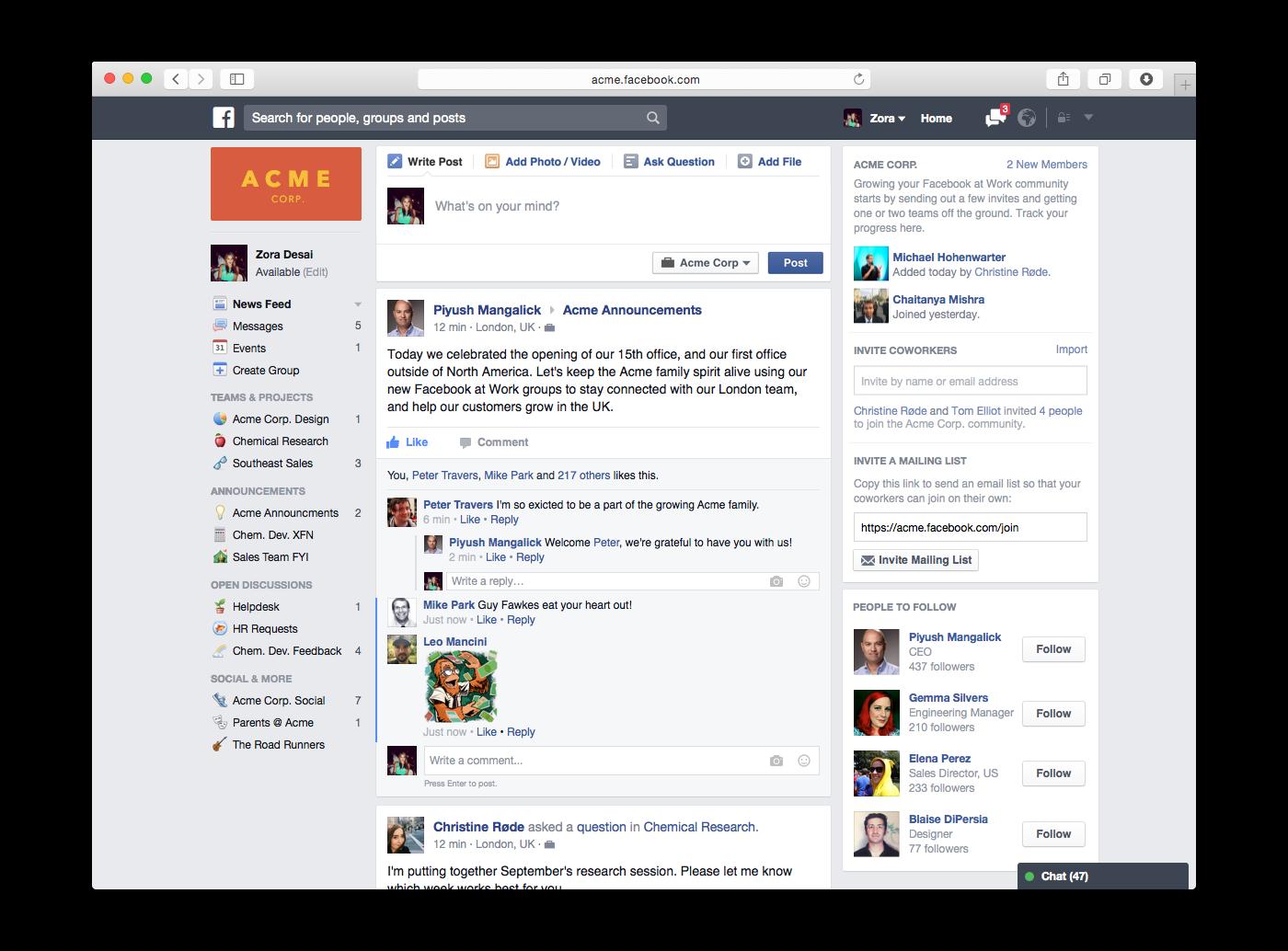 Facebook At work arrive bientôt