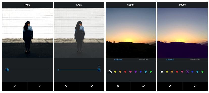 Instagram nouveaux outils - Fade Color