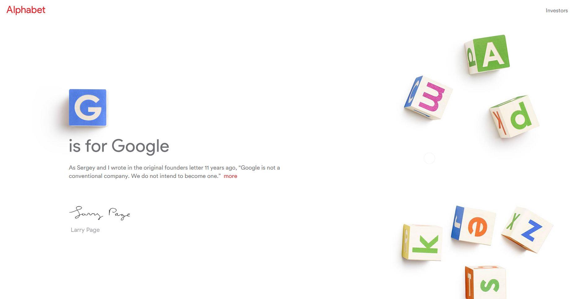 Le groupe Google devient désormais Alphabet
