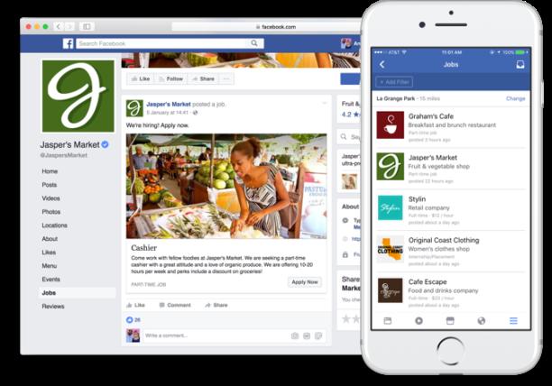 Nouvelle fonctionnalité Facebook  Publication d'offres d'emploi