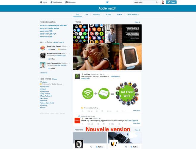 Twitter - Nouvelle version de son moteur de recherche