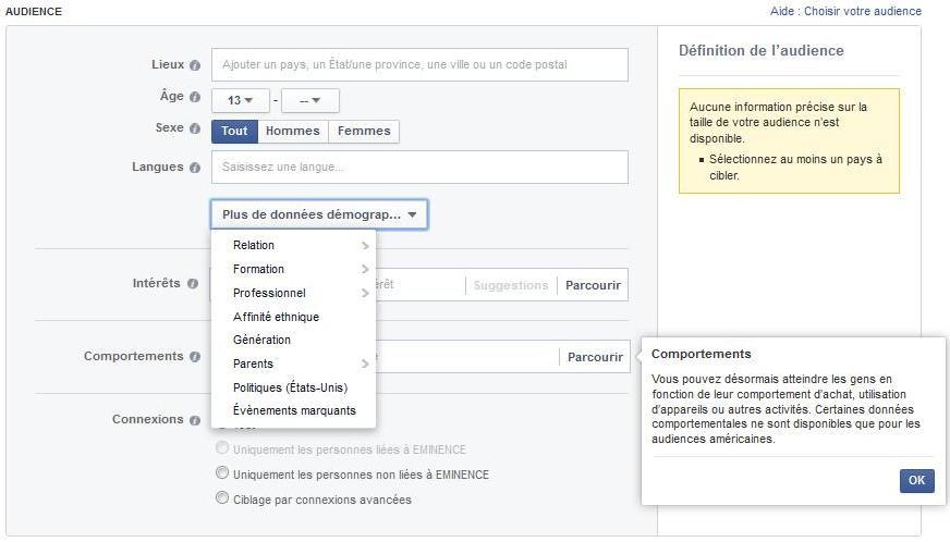 critères ciblage facebook ads