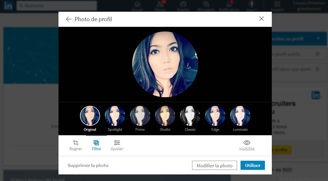 Linkedin filtre photo profil