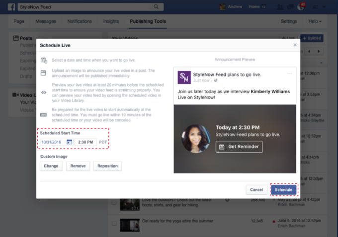 Scheduling live videos is now possible on Facebook