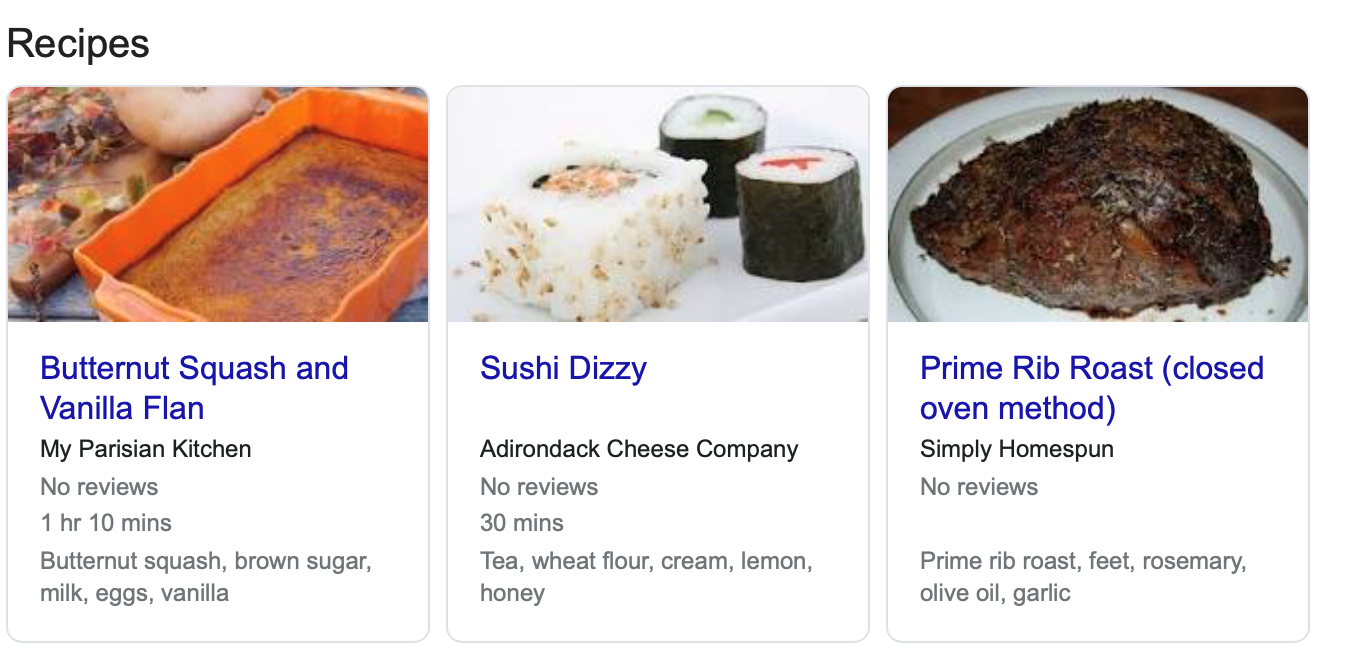 structured data for recipe